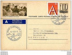 39-76 - Entier Postal Privé 1956 Avec Illustration Dorneck Bei Dornach - Oblit Illustrée De Dornach 2000 - Interi Postali