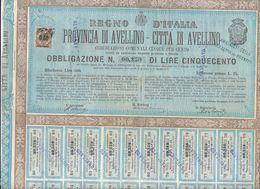 1878 AVELLINO OBBLIGAZIONE DI 500 LIRE CON CEDOLE UNITE - Zonder Classificatie