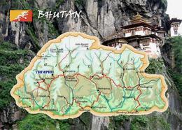 Bhutan Country Map New Postcard Landkarte AK - Bhoutan