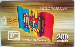 200 Units Moldova Flag , MoldTelecom Building Reverse - Moldawien (Moldau)