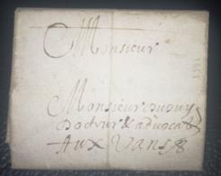 LETTRE  1661 - MONTAUBAN Pour LES VANS - XVII ème - Marcophilie (Lettres)