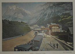 Suisse. La Gare à Grindelwald. Photogravure Fin XIXe. - Prints & Engravings