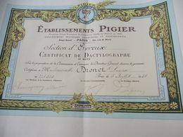 Diplôme De Formation/Cours PIGIER/ Section D'Evreux/Certificat DeDACTYLOGRAPHIE/Dronet/PARIS/1938                DIP237 - Diploma & School Reports