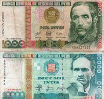 PERU 1000/10000 INTIS 1987,88 P-136b1 /141  Circ - Peru