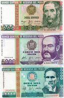PERU 1000/5000/10000 INTIS 1988 P-136b1 /137/141  UNC - Peru