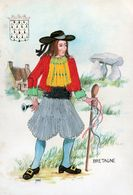Brodée - CP. BRETAGNE - Homme Costume Brodée - Dolmen - Flute - Blason - Par Nomi - - Brodées