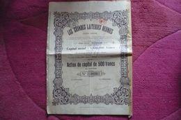 BELGIQUE : ACTION DE 500 Francs Avec Certificat De Déclaration / LES GRANDES LAITERIES REUNIES - Acciones & Títulos