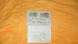 CARTE LETTRE ANCIENNE DE 1902.../ CACHETS DEPART A IDENTIFIER BELGIQUE POUR WOLFERSDORF BOHEME ?..+ TIMBRES X4 DONT ENTI - 1893-1907 Coat Of Arms