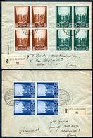 G10-138 CITTÀ DEL VATICANO 1943 Due Raccomandate Affrancate Con Opere Di Carità, 1a Emissione, Serie Completa In Quartin - Vatican