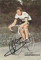 CARTE CYCLISME JEAN LUC VANDENBROUCKE SIGNEE TEAM PEUGEOT 1979 - Wielrennen