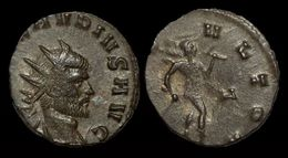 Claudius II Gothicus Billon Antoninianus Mars Advancing Right - 5. The Military Crisis (235 AD To 284 AD)