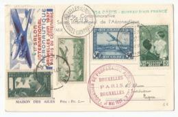 Belgique France Carte Commémorative Avec Vignette 1937 Salon Aéronautique - Airmail