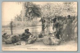 CONGO FRANCAIS CHASSE HIPPOPOTAME TETE COUPEE BONGA CPA AFRIQUE HEAD HIPPOPOTAMUS HUNTING HUNTER WEIRD CREEPY CHASSEUR - Französisch-Kongo - Sonstige