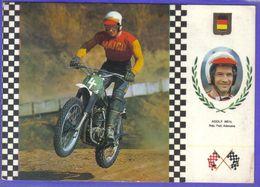Carte Postale Motocross Enduro Le Pilote Allemand Adolf Weil  Sur  Maico  33cv  Très Beau Plan - Motociclismo