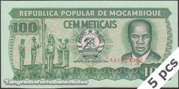 TWN - MOZAMBIQUE 130c - 100 Meticais 16.6.1989 DEALERS LOT X 5 - Prefix AA UNC - Mozambique