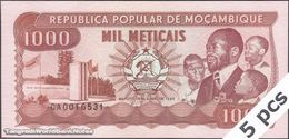 TWN - MOZAMBIQUE 132c - 1000 1.000 Meticais 16.6.1986 DEALERS LOT X 5 - Prefix CA UNC - Mozambique