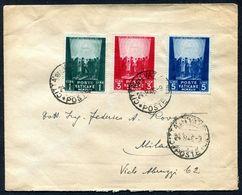 G10-131 CITTÀ DEL VATICANO 1946 Lettera Affrancata Con Opere Di Carità, 3a Emissione, Serie Completa, Annullo Di Arrivo, - Vatican