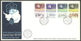 BRITISH ANTARCTIC TERRITORY: Sc.39/42, 1971 Antarctic Treaty 10 Years, Cmpl. Set Of 4 Values On FDC Covers With Cancel O - FDC