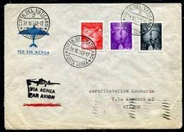 G10-155 CITTÀ DEL VATICANO 1949 Aerogramma Affrancato Con 3 Valori Posta Aerea Em. 1947, Annullo Di Arrivo, Ottime Condi - Vatican