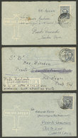 ARGENTINA: 3 Airmail Letters Sent From La Plata To Puerto Gallegos, Puerto Deseado And San Antonio Oeste In MAR/1948, Al - Argentina