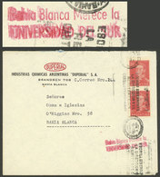 ARGENTINA: Topic UNIVERSITY: Cover Used In Bahia Blanca On 1/NO/1955 Franked With 40c., With Machine Cancel Along A Rose - Argentina
