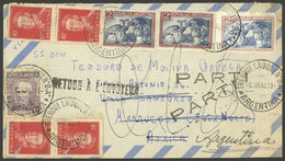 ARGENTINA: MIXED Postage And RARE DESTINATION: Airmail Cover Sent From Trenque Lauquen To MOROCCO NORTH AREA On 8/AP/195 - Argentina