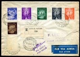G10-154 CITTÀ DEL VATICANO 1949 Raccomandata Affrancata Con Posta Aerea Em. 1947, Manca 1 Valore (1 Lira), Annulli Di Tr - Vatican