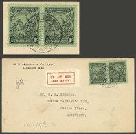 BARBADOS: 18/JUL/1936 Barbados - Argentina, Airmail Cover Franked With 2S., (Sc.176 Pair), Very Fine Quality, Rare Desti - Barbados (...-1966)