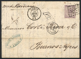 """BELGIUM: 21/JA/1868 LIEGE - Argentina: Folded Cover Franked By Sc.22 (Leopold I 1Fr.), Numeral """"217"""" Cancel, Sent By Fre - 1869-1883 Léopold II"""