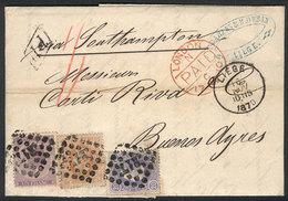 BELGIUM: RARE COMBINATION: 16/NO/1870 LIEGE - Argentina: Entire Letter Franked By Sc.22 (Leopold I 1Fr.) + 33 + 34 (Leop - 1869-1883 Léopold II