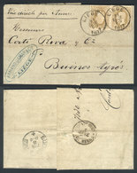 BELGIUM: 31/DE/1877 LIEGE - Argentina: Entire Letter Franked By Sc.37 X2 (Leopold II 25c.) With Datestamp Of Liege, With - 1869-1883 Léopold II