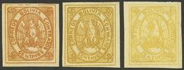 BOLIVIA: Sc.6, 1867 Condor 50c., 3 Mint Examples In Yellow, Yellowish Orange And Dark Orange, VF Quality! - Bolivia