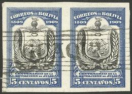 BOLIVIA: Sc.78, 1909 5c. Coat Of Arms Of La Paz, Used IMPERFORATE PAIR, Rare! - Bolivia