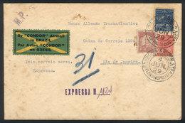 BRAZIL: 4/JUN/1929 FLORIANOPOLIS - Rio De Janeiro: Express Airmail Cover, By Condor, With Interesting Backstamps Adverti - Brésil