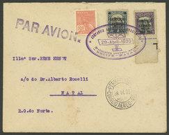 BRAZIL: 29/AP/1930 CAB First Flight Recife - Natal, With Special Violet Oval Mark, VF Quality! - Brésil