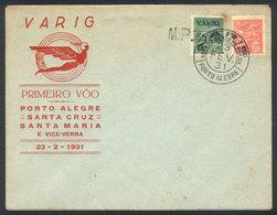 BRAZIL: 23/FE/1931 PORTO ALEGRE - SANTA CRUZ: First Flight By VARIG, Arrival Backstamp, Special Cacheted Cover, Very Pre - Brésil
