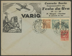 BRAZIL: 18/AP/1933 VARIG Special Flight Porto Alegre - Caxias, Commemorating The GRAPE FESTIVAL, VF Quality! - Brésil