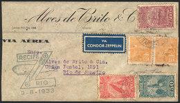 BRAZIL: 9/AU/1933 Recife - Rio De Janeiro, Via ZEPPELIN: Cover With Special Cachet Of The Flight And Arrival Backstamp,  - Brésil