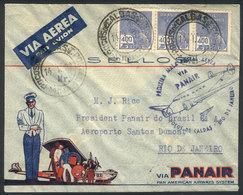 BRAZIL: 14/JA/1939 POCOS DE CALDAS - Rio De Janeiro: First Air Mail Service By PANAIR, Arrival Backstamp, Excellent Qual - Brésil