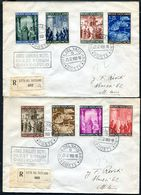 G10-170 CITTÀ DEL VATICANO 1950 Due Raccomandate Affrancate Con Serie Completa Anno Santo, Annullo Di Arrivo, Ottime Con - Vatican