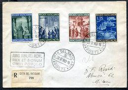G10-171 CITTÀ DEL VATICANO 1950 Raccomandata Affrancata Con 4 Valori Anno Santo, Annullo Di Arrivo, Ottime Condizioni - Vatican