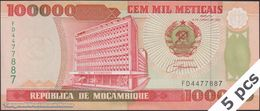 TWN - MOZAMBIQUE 139 - 100000 100.000 Meticais 16.6.1993 DEALERS LOT X 5 - Prefix FD UNC - Moçambique
