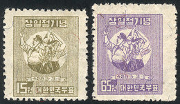 SOUTH KOREA: Sc.116/117, 1950 Independence (flags), Cmpl. Set Of 2 MNH Values, VF Quality! - Corée Du Sud