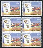 DJIBOUTI: Sc.509, 1980 Rotary International, Airplane, Single + Block Of 4 + IMPERFORATE Single, Excellent Quality! - Gibuti (1977-...)