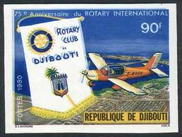 DJIBOUTI: Sc.509, 1980 Rotary International, With IMPERFORATE And DOUBLE IMPRESSION Of Blue Color Varieties, VF Quality! - Gibuti (1977-...)