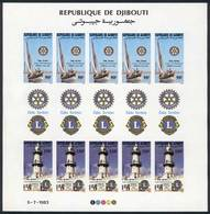DJIBOUTI: Sc.C182/3, 1983 Rotary And Lions, Boat, Lighthouse, Complete IMPERFORATE Sheet, Rare. Excellent Quality (with  - Gibuti (1977-...)