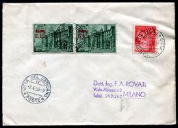 G10-143 CITTÀ DEL VATICANO 1953 Lettera Affrancata Con Basiliche 12 L. Sovrastampato Coppia +  1 L. Posta Aerea, Annullo - Vatican