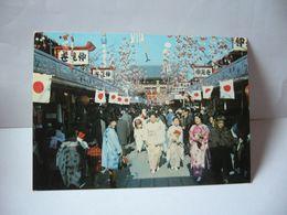 NAKAMISE STALLS AT ASAKUSA LES PETITES BOUTIQUES ET LE TEMPLE DE ASAKUSA ASIE ASIA JAPAN JAPON CPM - Tokio