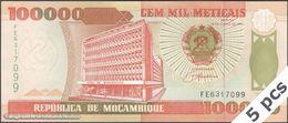 TWN - MOZAMBIQUE 139 - 100000 100.000 Meticais 16.6.1993 DEALERS LOT X 5 - Prefix FE UNC - Moçambique