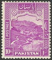 PAKISTAN: Sc.41b, 1948/57 10R. Lilac-rose PERFORATION 12, MNH, Excellent Quality, Catalog Value US$110. - Pakistan